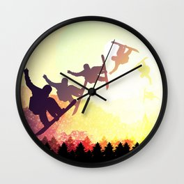 Snowboard Skyline Rainbow Wall Clock