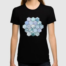 Ice Blue and Jade Stone and Marble Hexagon Tiles T-shirt