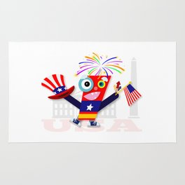 Patriotic Fourth of July Firecracker Rug