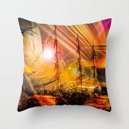 Romance of sailing Throw Pillow