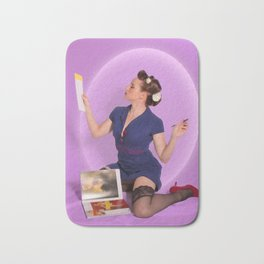 """Planning"" - The Playful Pinup - Polka Dot Dress Pinup Girl by Maxwell H. Johnson Bath Mat"