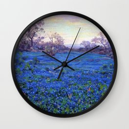 Bluebonnets at Twilight, mountain-desert landscape painting by Robert Julian Onderdonk Wall Clock