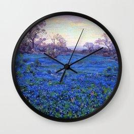 Bluebonnets at Twilight, mountain-desert landscape painting by Robert Julian Onderdonk Wall Clock