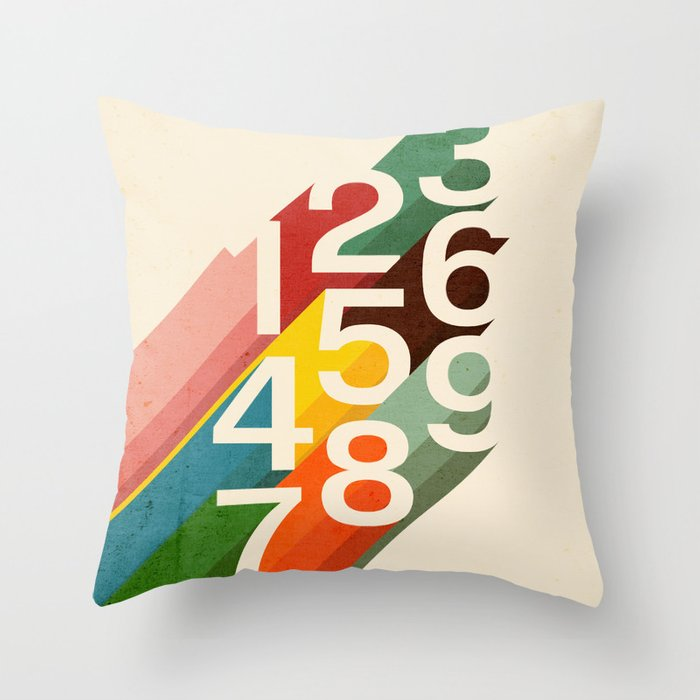 Throw Pillow With Numbers : Retro Numbers Throw Pillow by budikwan Society6