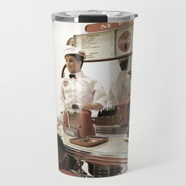 Barbie and Ken dolls in an American Vintage Bar. Travel Mug