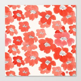 Camellia Flowers in Red Canvas Print