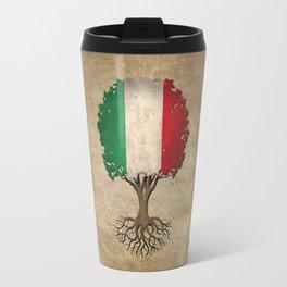 Vintage Tree of Life with Flag of Italy Travel Mug