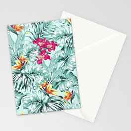 Bird of Paradise Greenery Aloha Hawaiian Prints Tropical Leaves Floral Pattern Stationery Cards