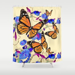 YELLOW MONARCH BUTTERFLY GARDEN & BLUE MORNING GLORIES ART Shower Curtain