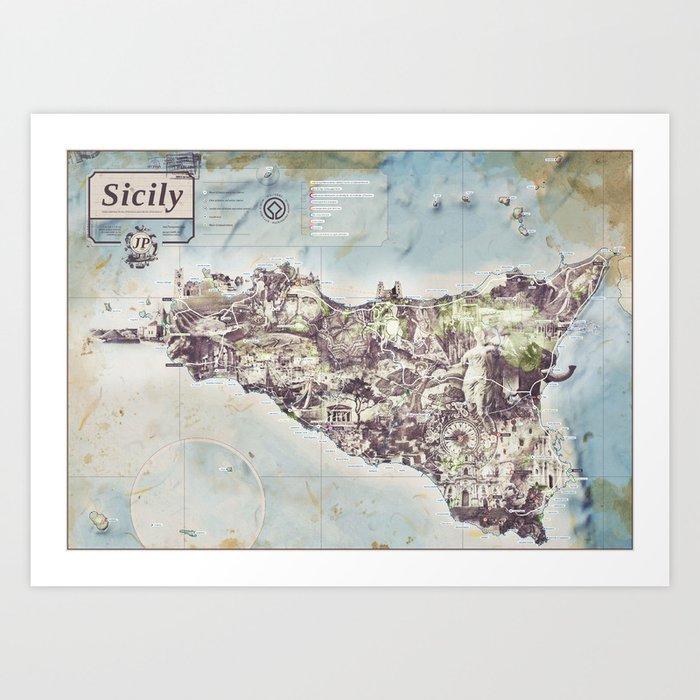 Sicily - Jean Passepartout Map Art Print