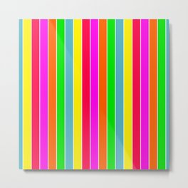 Neon Hawaiian Rainbow Deck Chair Stripes Metal Print