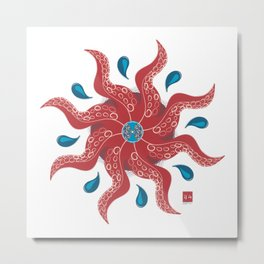 It's a Tentacle Mandala, Sucker Metal Print