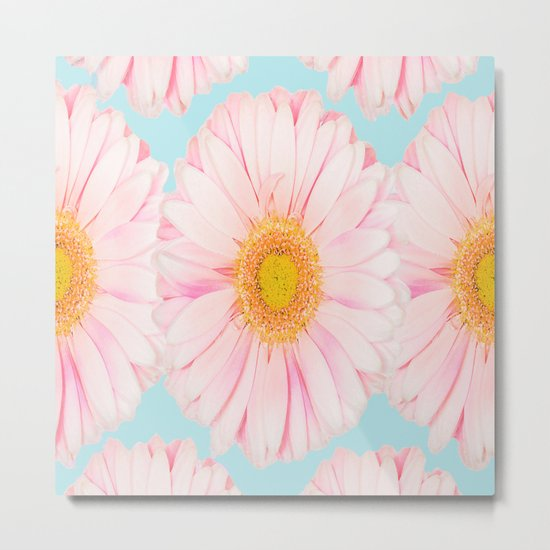 Pink summer flowers on a turquoise background - summer mood Metal Print