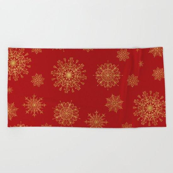 Assorted Golden Snowflakes Beach Towel