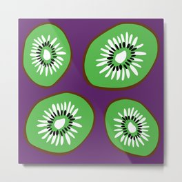 Bright Purple and Green Kiwifruit Pattern Metal Print