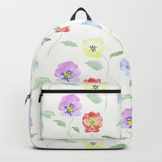 Colored Viola. Watercolor . Backpack