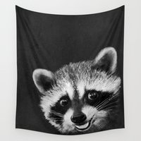 raccoon Wall Tapestries featuring Raccoon  by Laura Graves