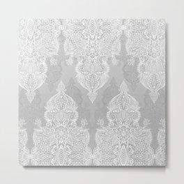 Lace & Shadows 2 - Monochrome Moroccan doodle Metal Print