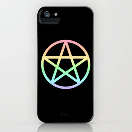 Rainbow Pentacle on Black iPhone Case