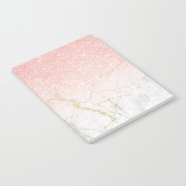 Rose Gold Glitter and gold white Marble Notebook