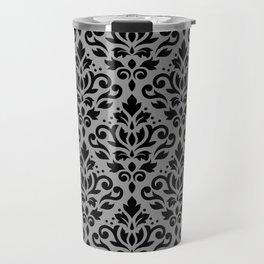 Scroll Damask Pattern Black on Gray Travel Mug