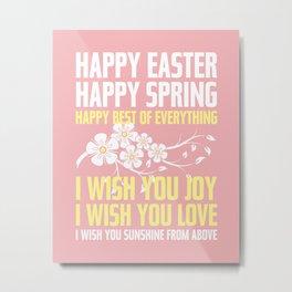 Happy Easter, Happy Spring | Poem Artwork | Dusty Pink, White, Yellow Metal Print