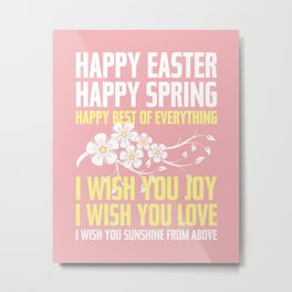 Happy Easter, Happy Spring | Poem Artwork | Dusty Pink, White, Yellow Metal Print