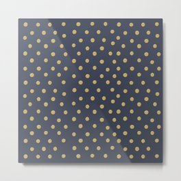 Gold Dots on Blue Metal Print