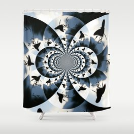 Silhouette Butterflies  Shower Curtain