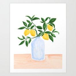 Lemon Tree Branch in a Vase Art Print