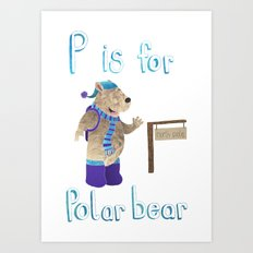 P id for Polar Bear Art Print