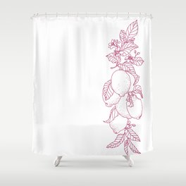 Vertical line of a slice and half of citrus fruit in juicy tones. Graphic design in conceptual e Shower Curtain