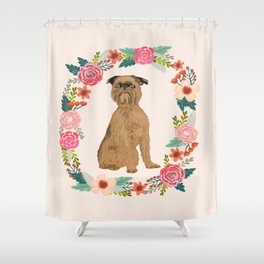brussels griffon dog floral wreath dog gifts pet portraits Shower Curtain