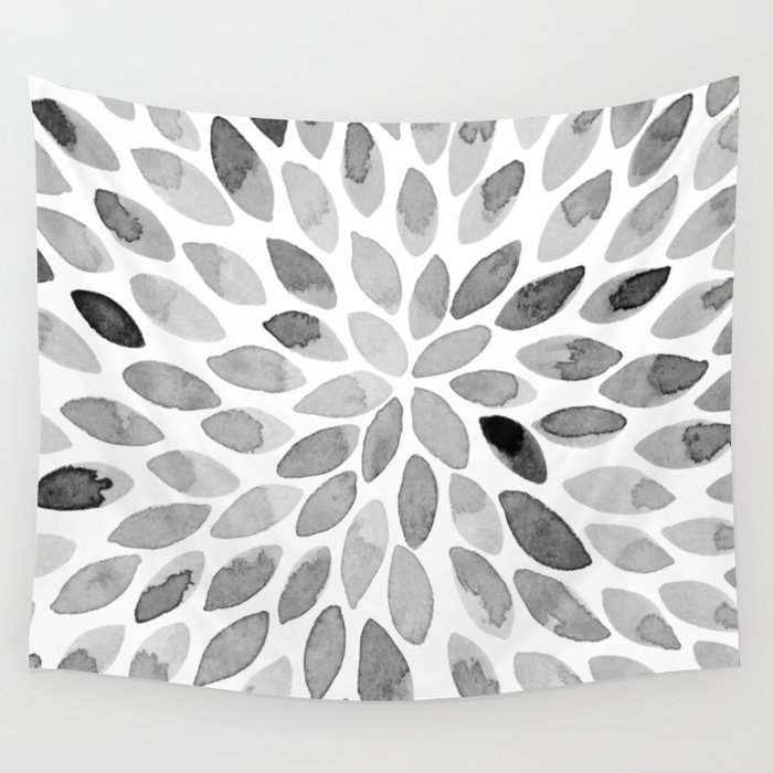 Watercolor brush strokes - black and white Wall Tapestry