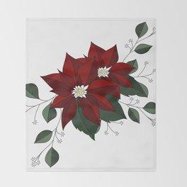 Nochebuena Poinsettia Throw Blanket