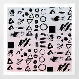 Blush pink gray black paint brushstrokes shapes gradient Art Print