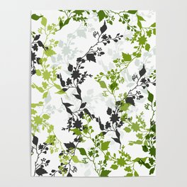 Branches and Leaves in Cobalt Grey and Green Poster