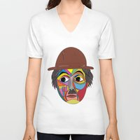 charlie chaplin V-neck T-shirts featuring Charlie Chaplin by JeeArt