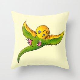 Little Green Parakeet Throw Pillow