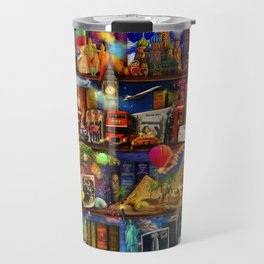 World Travel Book Shelf Travel Mug