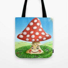 Happy Fly Agaric in the sunny day Tote Bag