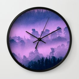 Blue forest in a pink fog Wall Clock