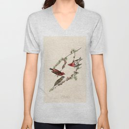 Purple Finch, Birds of America by John James Audubon Unisex V-Neck