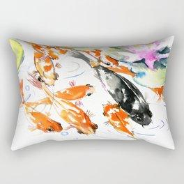 Nine Koi Fish, 9 KOI, feng shui artwork asian watercolor ink painting Rectangular Pillow