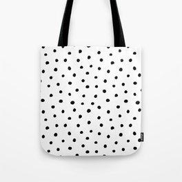 Preppy brushstroke free polka dots black and white spots dots dalmation animal spots design minimal Tote Bag