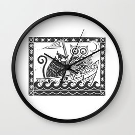 The Owl And The Pussycat (white background) Wall Clock
