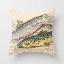 Vintage River Trout Illustration (1866) Throw Pillow