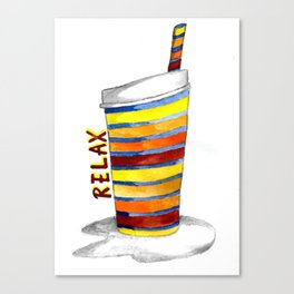 Relax Watercolor Tumbler Canvas Print