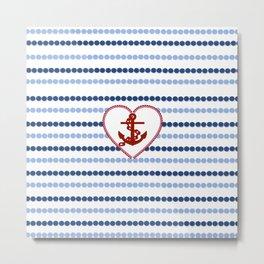 Modern navy blue nautical red heart anchor polka dots stripes Metal Print
