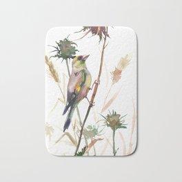 European Goldfinch and Dry Field Plants Bath Mat